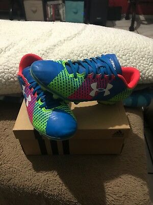 official photos 4a76a 4452a Under Armour CF FORCE HG JR Soccer Cleats Size 3.5Y Blue Green Pink