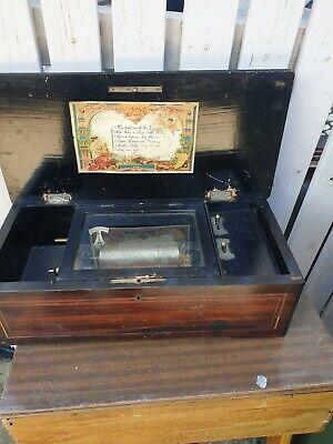 ANTIQUE MECHANICAL CLOCKWORK CYLINDER MUSIC BOX