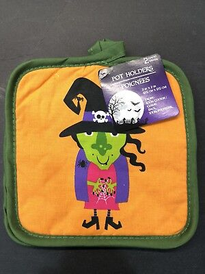 Greenbriar Kitchen Pot Holders 2pc Spooky Halloween Witch 7x7 Top Loop