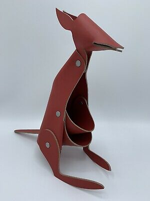 Kangaroo Red Leather Desk Organizer Office Home Decor By Vacavaliente