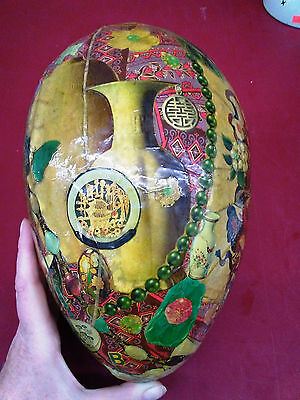 Vintage Paper Mache Decopauge Large Egg Chinese Theme