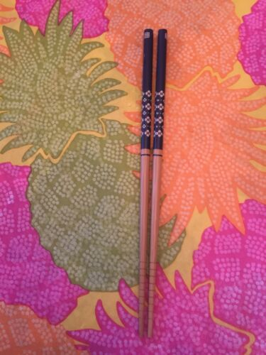 NAVY BLUE ON WOOD  WITH FLOWERS CHOPSTICKS OR HAIRSTICKS WITH FREE HANDMADE SILK