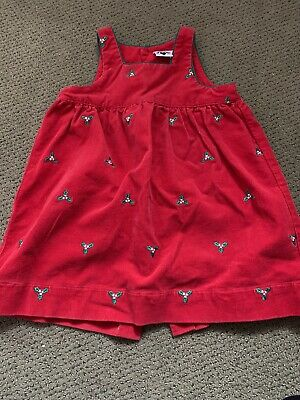 Hartstrings Girl's Jumper Dress Red Size 4 Holly Embroidered Corduroy Exc Cond