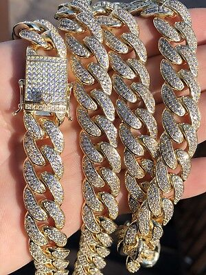 "Men's Curb Cuban Miami Link 30"" Chain 14k Gold Plated 15mm 45ct Lab Diamonds"