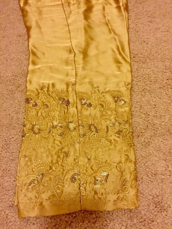 Pakistani Embroidered Silk Pants (Medium)