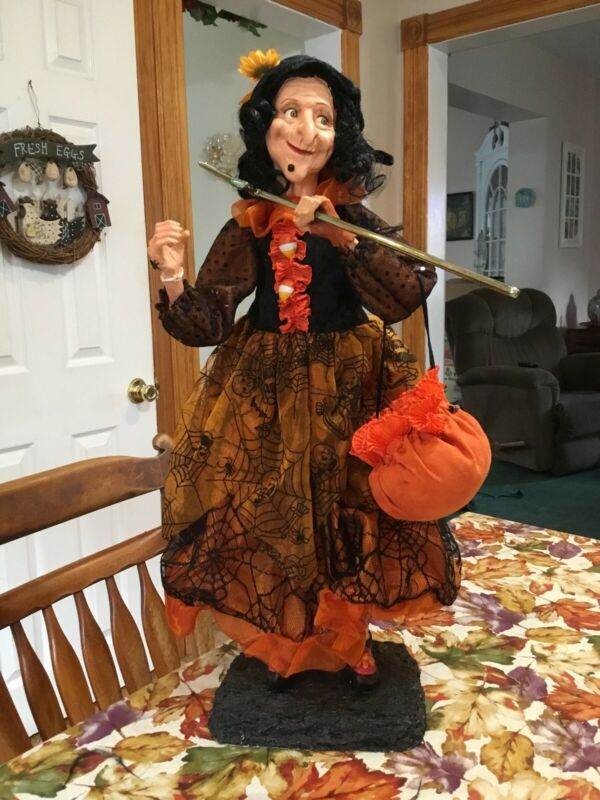 "Halloween Decor 22"" Witch With Wand Web Dress Wart Fun Bright"
