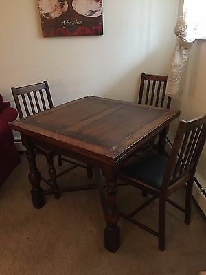 Antique Oak Drawleaf English Pub Table Including 4 Original Antique Oak Chairs