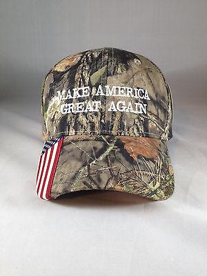 Make America Great Again American Flag Camo Hat Mossy Oak Break Up Country Trump