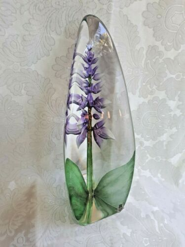 Mats Jonasson Crystal Maleras Sweden Purple Orchid Obelisk 28 cm Tall