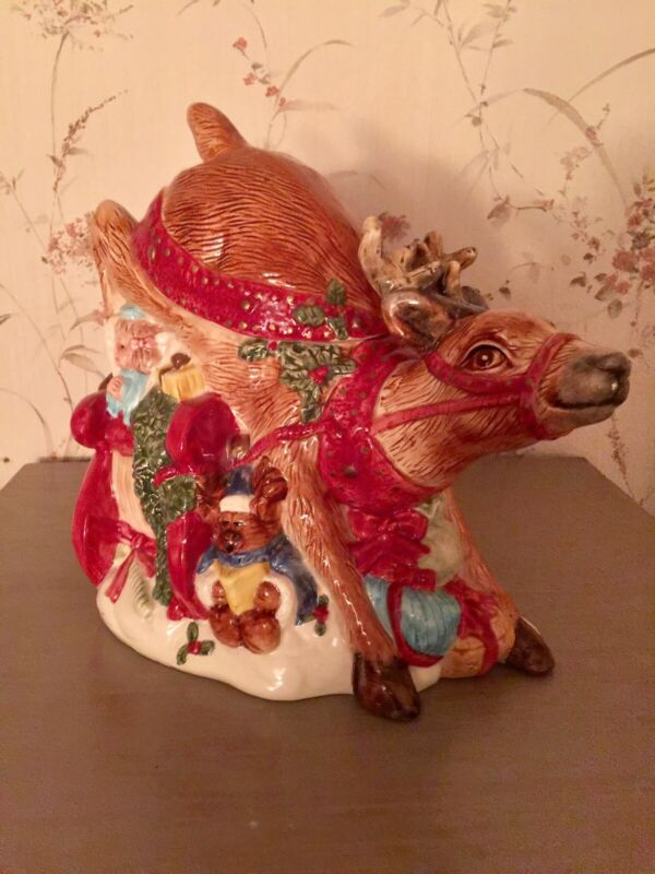 Large Ceramic Reindeer Cookie Jar