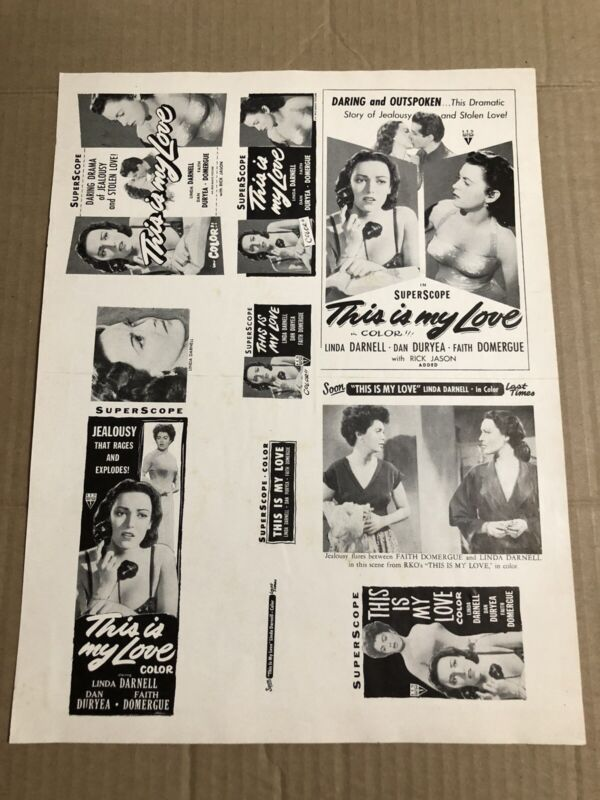 THIS IS MY LOVE - Vintage 1954 Press Kit Ad Advertising Supplement Page