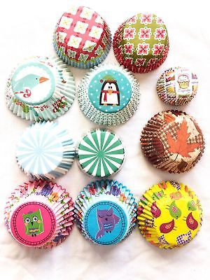 220 Standard & Mini Paper Baking Cupcake Liners Christmas Fall Owls Birds Floral - Owl Cupcake Papers