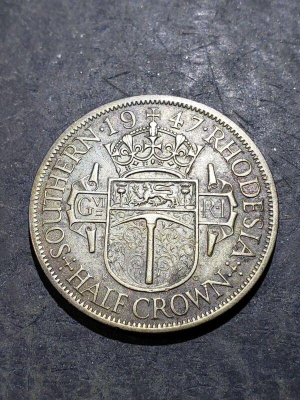 1947 Southern Rhodesia Half Crown Coin