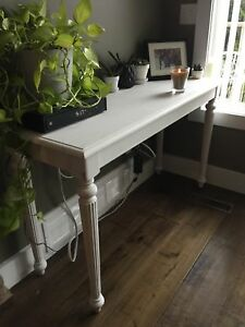 Solid wood Sofa table - chalk white high table - vintage farm