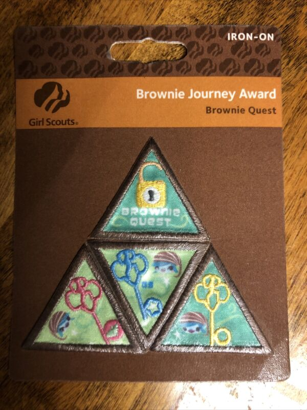 Girl Scout Brownie Badges Journey Award Brownie Quest Iron On New 4 Patch Set
