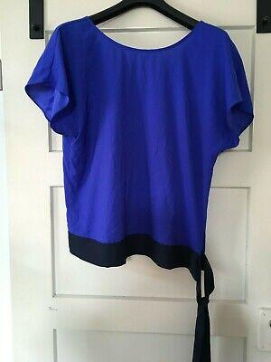 Ann Taylor Bluse (ANN TAYLOR Oberteil in Gr. L, wunderschöne Blautöne, raffinierter Rücken, Bluse)