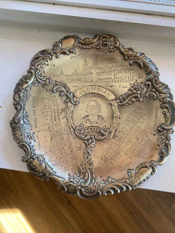 Antique Columbian Exposition Commemorative Metal Simpson.H.M. And Co. Plate