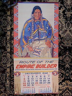 Antique 1946 Great Northern RR Empire Builder Calendar Winold Reiss Blackfeet