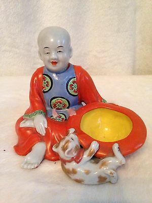 Antique Oriental Japanese Handpainted Porcelain Incense Burner BOY & CAT Orange
