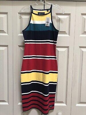 NWT Superdry Womens Strappy Stripe Knit Midi Dress Navy/Marine Sz M (US 8) $58