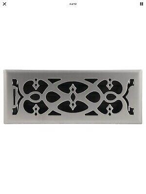 Floor Register Victorian Design Vent Cover Steel Fits 4'x12' Satin Nickel Metal 4x12 Victorian Floor Register