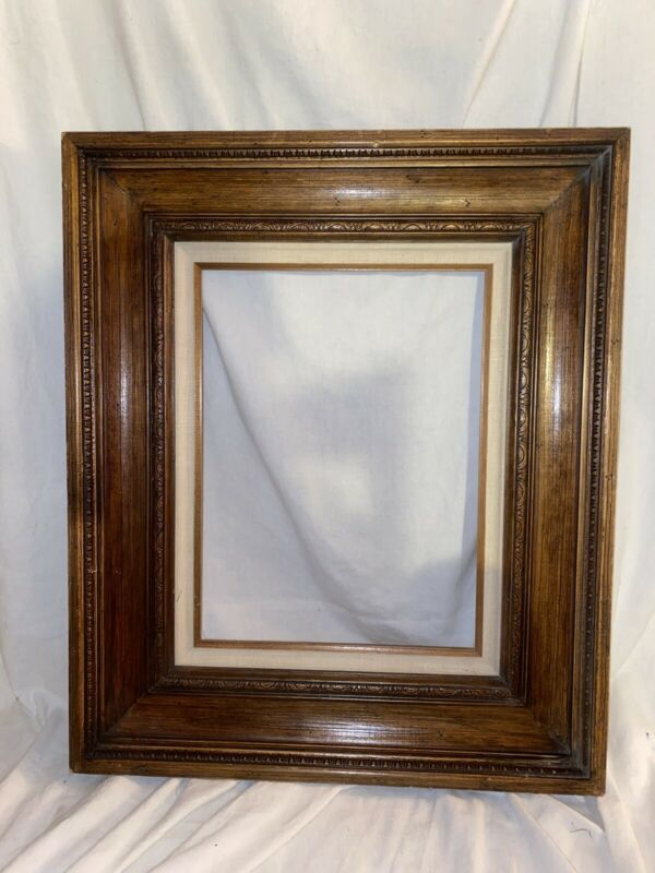 Vintage Antique Wooden Brown  Carved Etched Fits 12x16 Picture Frame