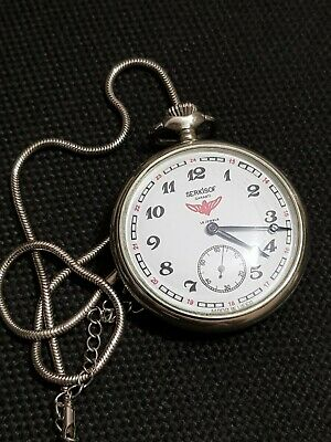 Pocket watch SERKISOF DEMIRYOLU Molnija 18 Jewels Made in USSR