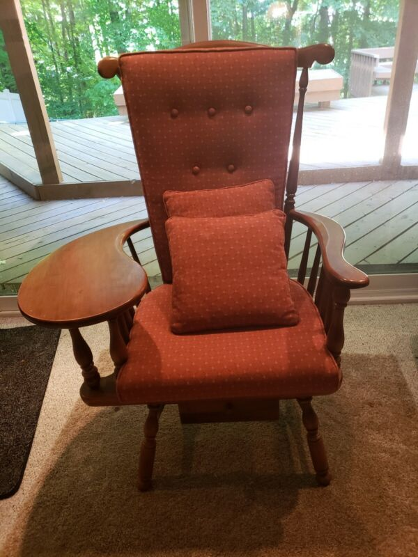 Heywood Wakefield Chair w/Writing Arm reupholstered- Excellent Condition!
