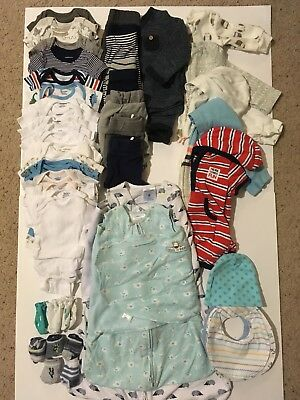 49pc Baby Boy Clothes Lot (newborn, 0-3 month, 3-6 month) LIKE NEW