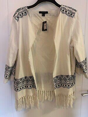 Ladies Primark Cream Black Embroidered Boho Kimono Jacket Top Size 14/16