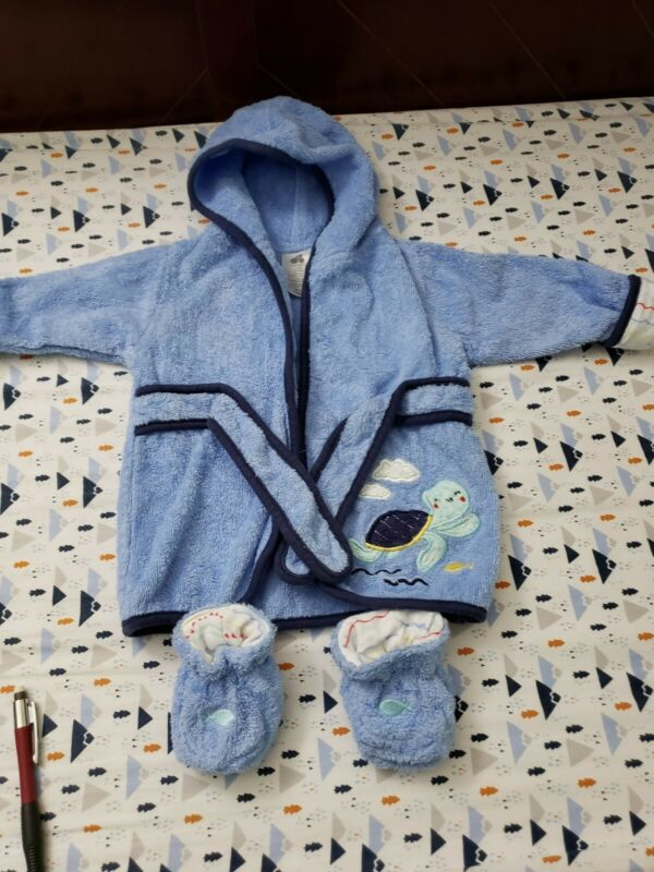 Bathrobe  with booties baby boy/ size 0-9/ 100% cotton