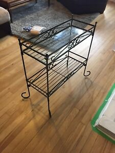 Iron and Glass plant stand/side table