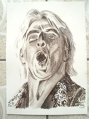 A4 Charcoal Sketch Drawing Wrestler Ric Flair