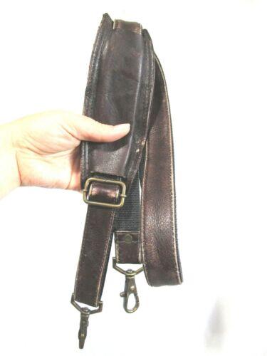 "VTG Dark Brown Leather Brass Hardware Replacement Shoulder Strap 1"" W 54"" L"