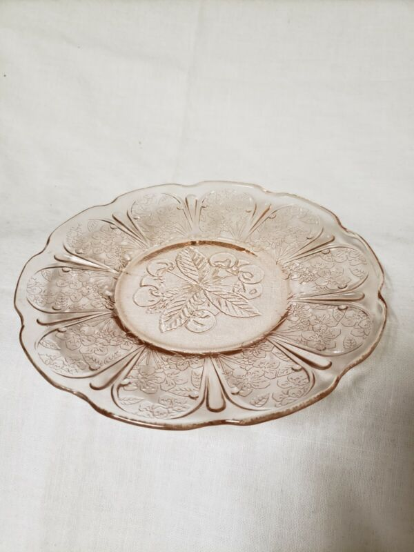 5 Cherry Blossom Pink Depression Glass Bread & Butter Plates 6""