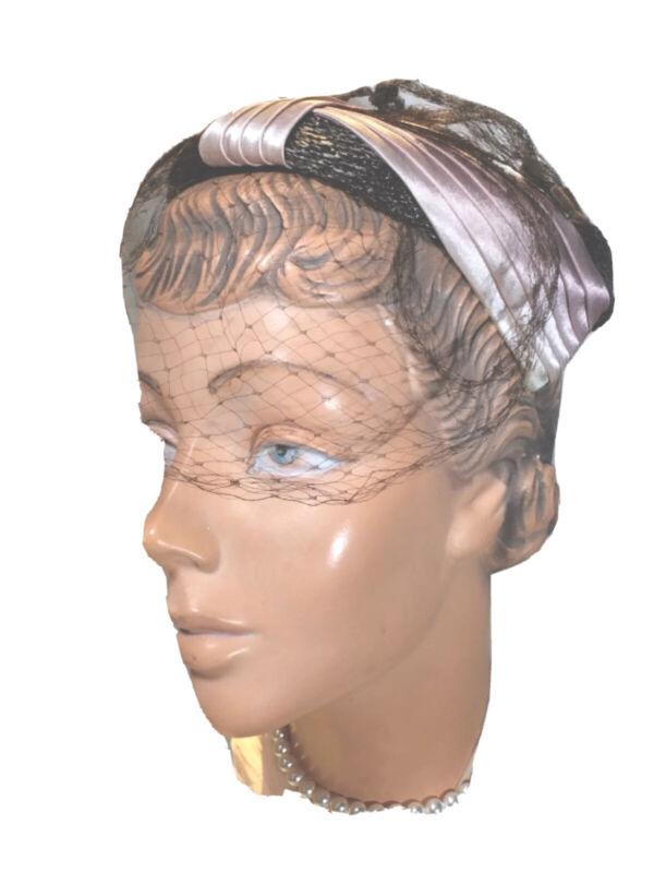 Vintage brown straw Juliet cap Hat veil Feather plume 50s mauve satin Eva Mae