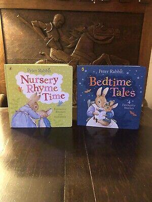2 x Peter Rabbit Nursery Rhyme Time & Bedtime Tales Books Christmas Present ()