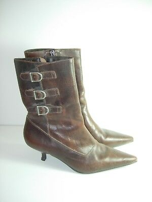 WOMENS BROWN LEATHER CALF HIGH BOOTS STEAMPUNK CAREER HEELS SHOES SIZE 9 M (Womens Steampunk Boots)