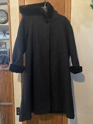 Girls Coat Dress (Girls 12 Grey Hooded Wool Dress Coat Stephanie Matthews Kids Black)