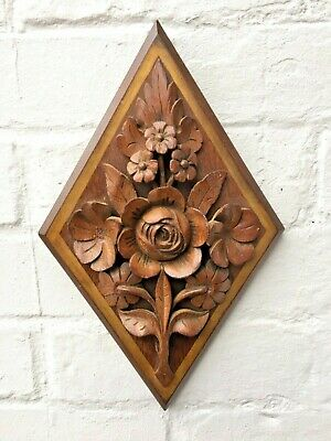 Antique Carved Wood Wooden Floral Wall Hanging Moulded Plaque