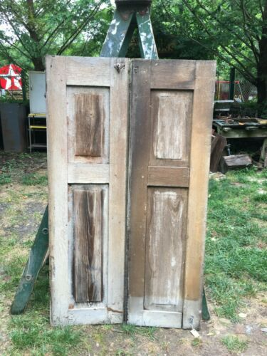 1Vtg  Pair Architectural Salvage Solid Panel  wood  Shutters 47in x 14.5in Side