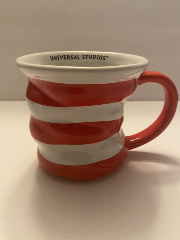 Universal Studios Cat In the Hat Red White Striped Crooked Coffee Mug Dr. Seuss