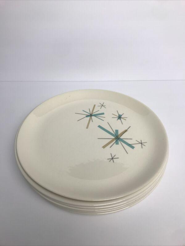 "6- 10"" Salem North Star Dinner Plates, Atomic Starburst MCM EC"