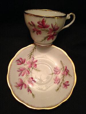 "Royal Standard English Bone China Cup & Saucer ""Golden Dawn"" Pink Flowers!"
