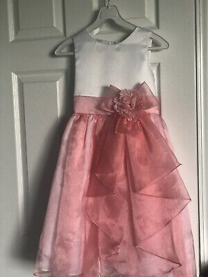 White /Coral Tiered Shimmering Organza Flower Girl Dress ](White Organza Flower Girl Dress)