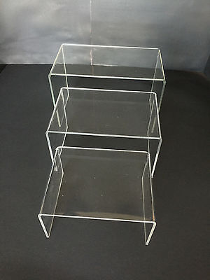 3 Pack  Acrylic Plastic Clear Riser Display Stand 5   6    7   Fixtures Jewelry