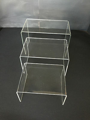 "(3 Pack) Acrylic Plastic Clear Riser Display Stand 5"", 6,"", 7 "" Fixtures Jewelry"