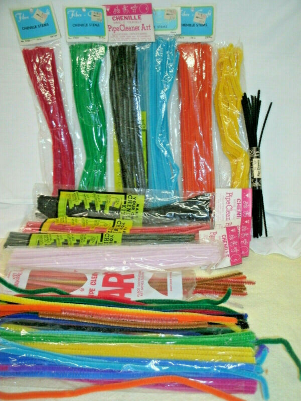 Vintage Chenille Pipe Cleaners--347 Stems--Asst Colors--Fibre Crafts Pkg..