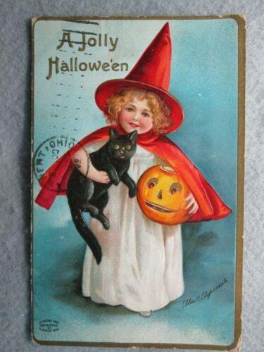 A Jolly Halloween, Ellen H. Clapsaddle Embossed Postcard Girl, Black Cat 1909