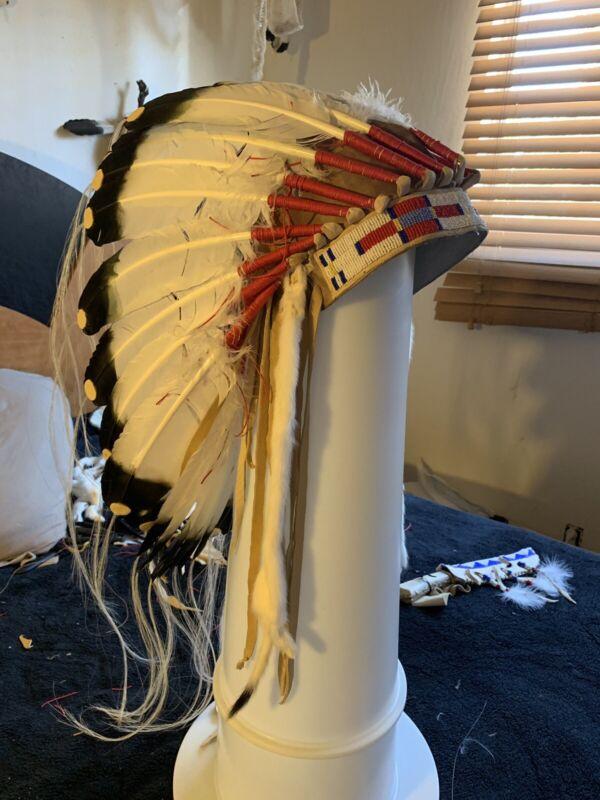 American Indian  War Bonnet  And War Bonnet Case.